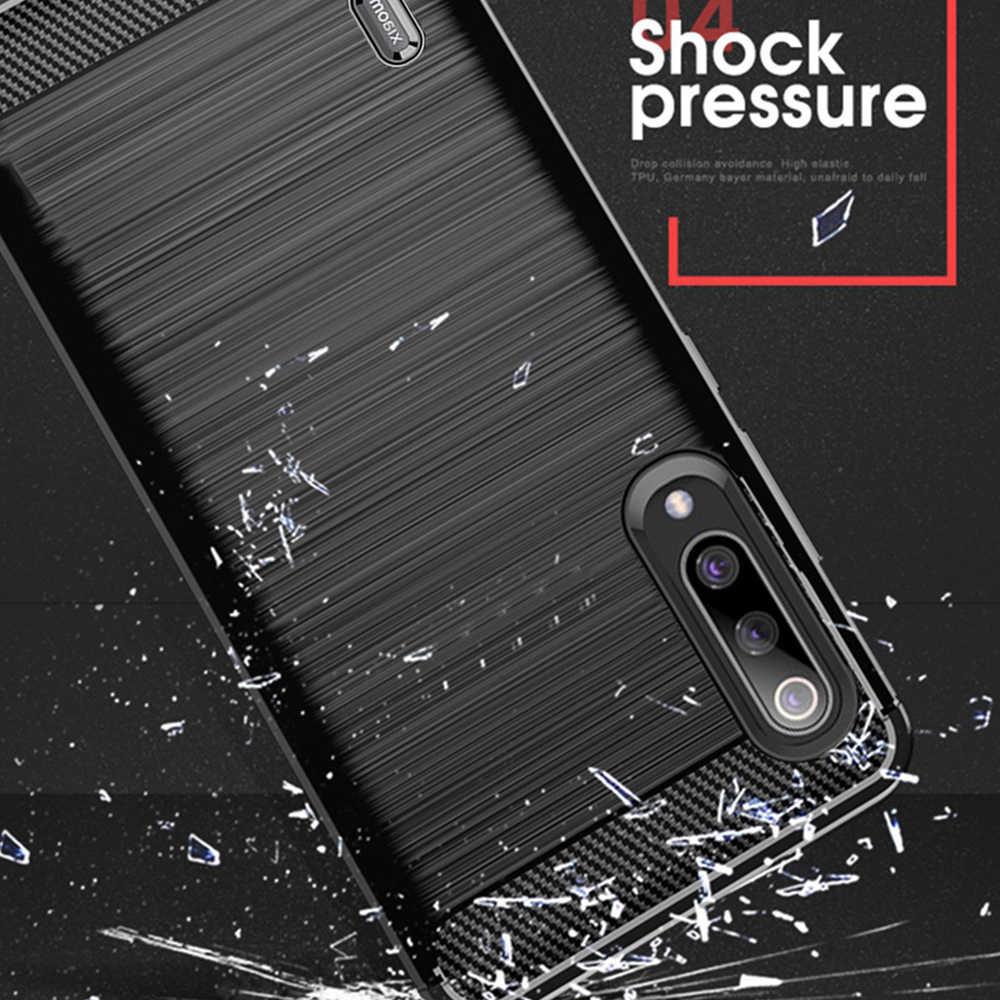 For Mi 9 Lite Case Carbon Fiber Cover Shockproof Phone Case For Xiaomi Mi CC 9 Mi9 Lite  Cover Full Protection Bumper Flex Shell