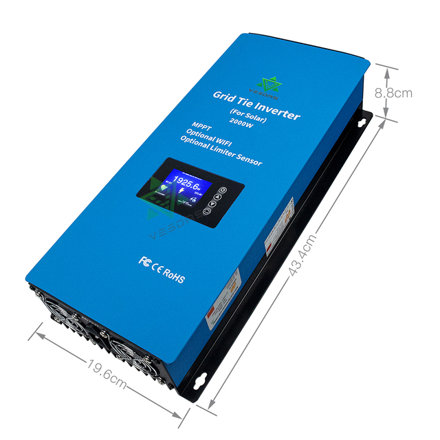 2000W Microinver MPPT On Grid tie Inverte Micro Solar Converter Regulator Inverter With Limiter Sensor 45 90VDC for Solar Panes|Solar Inverters|   -
