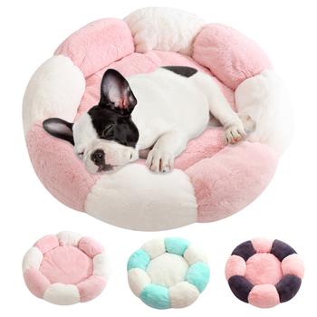 Soft Dog Bed Round Washable Short Plush Dog Kennel Cat House Velvet Mats Sofa For Dog Chihuahua Dog Basket Pet Bed image