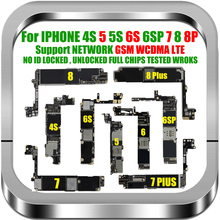 Free Shipping Original Unlocked For iphone 6s 7 8 Plus 4s 5 5s Motherboard For iphone 7 8 6 Plus Logic Board With IOS MB Chips
