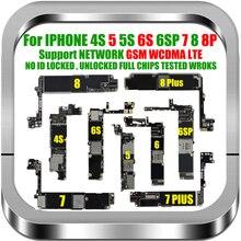 送料無料オリジナルロック解除iphone 6s 7 8プラス4 4s 5 5マザーボード用iphone 7 8 6プラスロジックボードiosメガバイトチップ