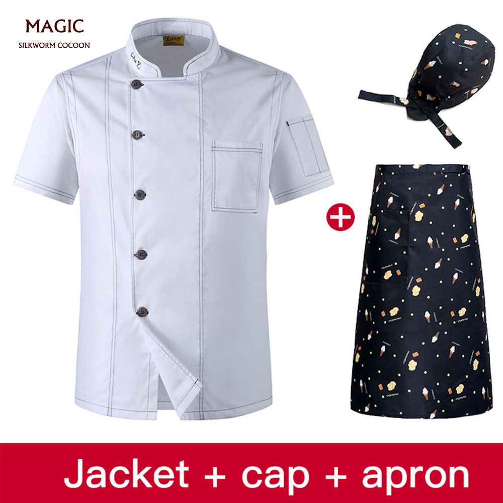 Unisex Double Breasted Cook Suit short-sleeve Clothes Chef Uniform Master Coats