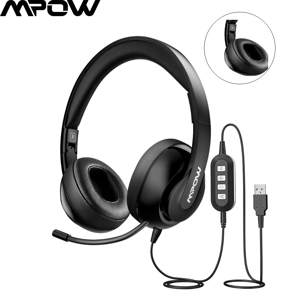 Mpow USB Headset Surround Stereo 3.5mm AUX PC Gaming Computer Headphone with Mic