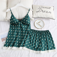 Pajamas Suit Women Polka Dot Loose Nightwear Summer Casual Sleeveless Spaghetti Strap Sleepwear Cute Lovely Girls Pijamas Set cute spaghetti strap zippered candy color polka dot crop top for women