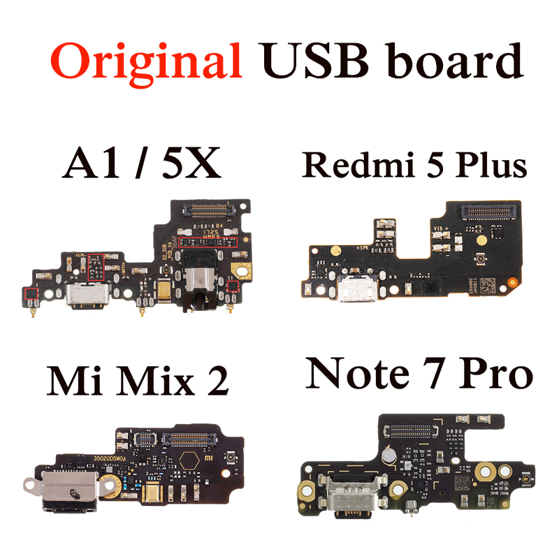 Original Charging Port PCB Board For Xiaomi Mi A1 Note 5 7 6 Pro Mix 2 4X 5A OEM Charger Board Dork Connector For Mi 5X USB