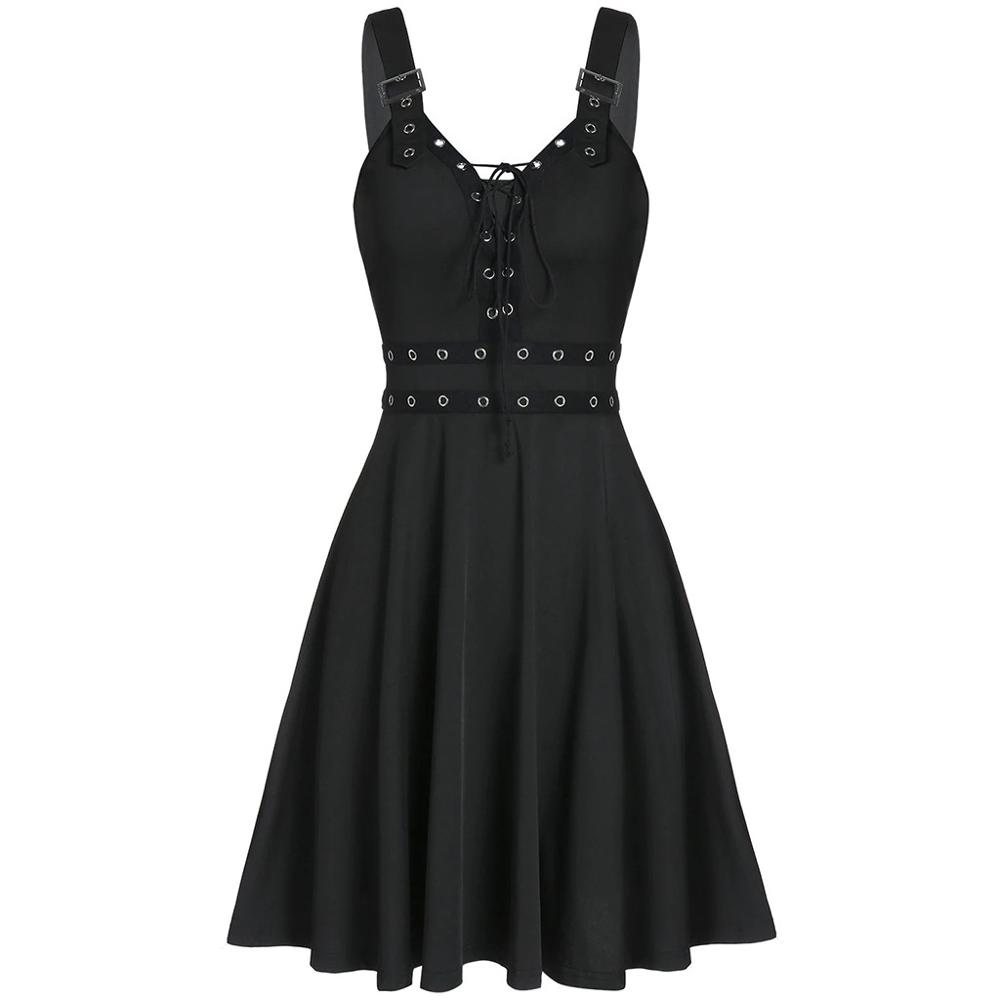 Women Short Sleeve Gothic Solid Lace Rockabilly Evening Prom Swing Punk Dress