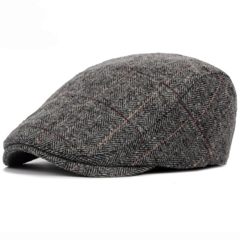 2019 Autumn Winter Men Cap Hats Berets British Western Style Wool Advanced Flat Ivy Cap Classic Vintage Striped Beret Cap