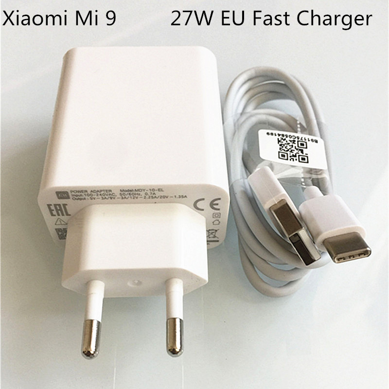 XIAOMI 27w Usb Fast Charger QC4.0 Turbo Charge Adapter 3A Type C Cable For Xiaomi 9 9se 8 8se 9T Pro CC9 A3 Redmi Note7 K20 Pro