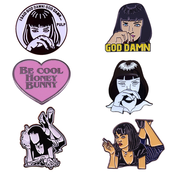 Pulp Fiction Pin Cool Punk Girl Mia Wallace Badge Quentin Tarantino Brooch 90s Retro Cult Movie Fans Gift image