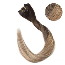 Voller Glanz Blond Haar Clip in Extension Farbe Nahtlose Haut Schuss 100% Maschine Made Remy Haar Clip in 8 pcs 100g Echt Clip Auf