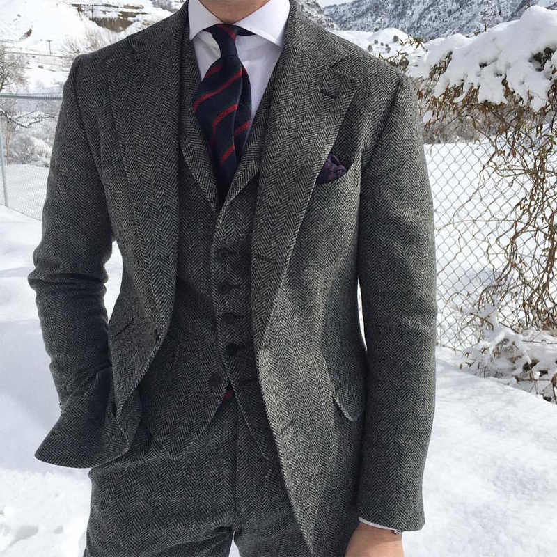 2020 Nieuwe Visgraat Tweed Grijs Pak Voor Mannen Formele Zakelijke Bruidegom Wedding Suits Voor Mannen Ternos Tweed Smoking Mannen 3 stuk