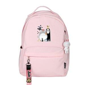 Image 2 - Spirited Away No Face uomo donna zaino rosa zaino piccolo Kawaii zaino da viaggio impermeabile borse da scuola per gatti carino Bookbag rosa