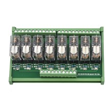 Din Rail Mount Ac/Dc 12/24V Control 8 Spdt 16A Power Relay Module,Omron G2R-1-E.x1(24V)(China)