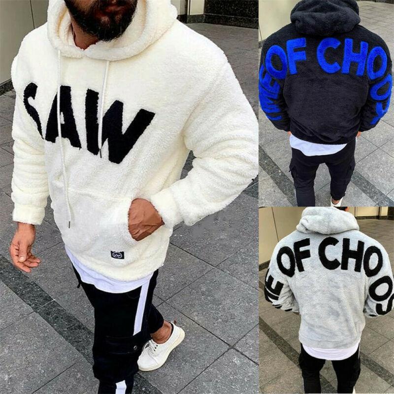 Mens Plain Hooded Sweatshirt Fleece Hoodie Jumper Top Sweater Pullover Big Size