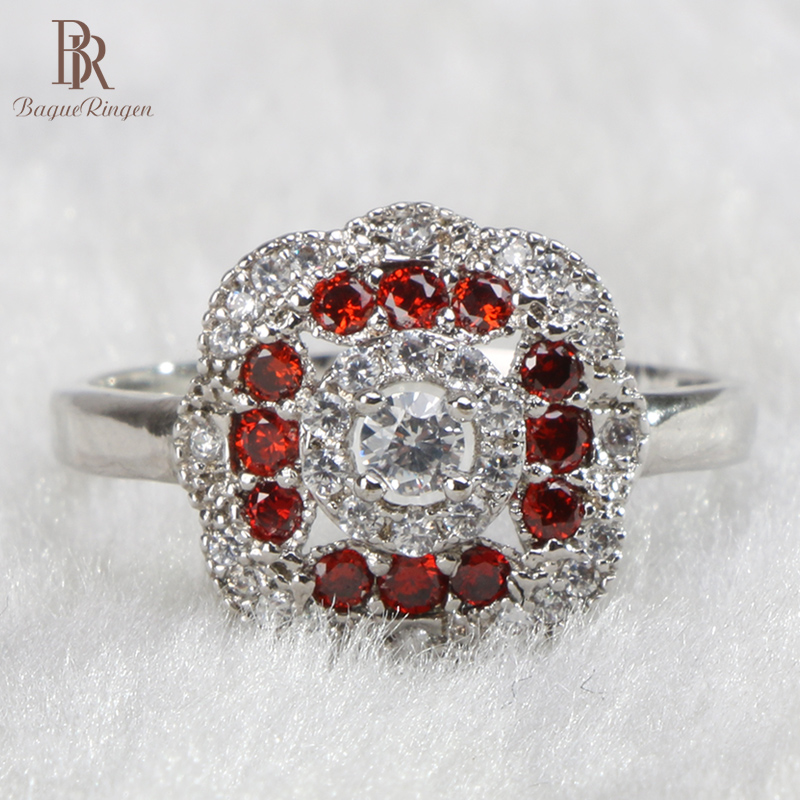 Bague Ringen classic 925 sterling silver rings for charm women with ruby zircon round shape gemstones lady party wholesale gift