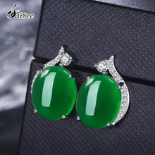 SaiSee 100% Genuine 925 Sterling Silver Chalcedony Stud Earrings for Women Green Red Brincos E096