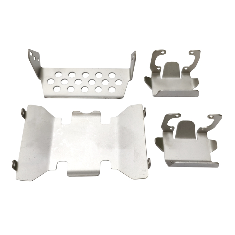 HOT-Stainless Steel Front Bumper Lower + Axle + Gearbox Mount Protection Skid Plate Set For 1/10 RC Crawler AXIAL SCX10 II 90046