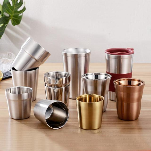 1 Pcs Stainless Steel Cup Metal Beer Wine Pint Glasses Coffee Tea Milk Mugs Home Party Bar Drink Accessories 175/260/300/480ml