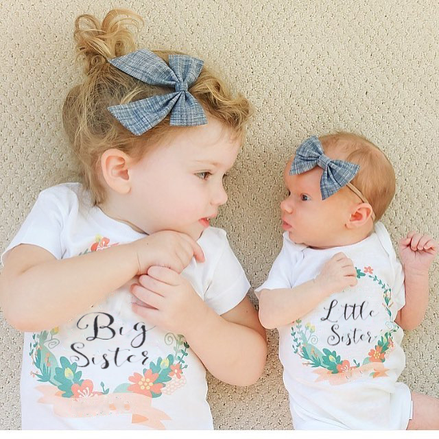 Summer Family Matching Clothes Baby Kids Girl Little Big Sister Match Jumpsuit Romper And T Shirt  Family Outfits