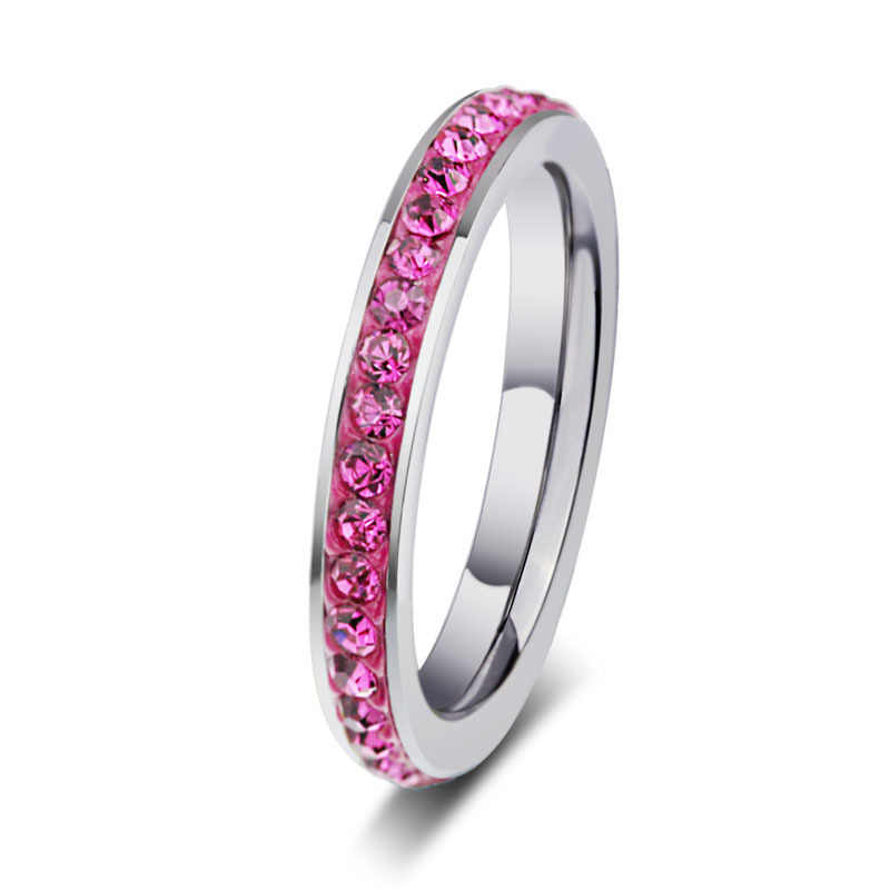 2019 fashion pop jewelry mud stick diamond color ring stainless steel high-grade ring wholesale couple ring