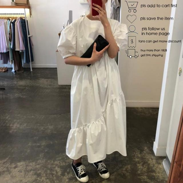 Getspring Women Dress Cotton Casual White Black Dresses Plus Size Asymmetry Puff Sleeve Long Loose Irregular Dresses Summer 2020 5