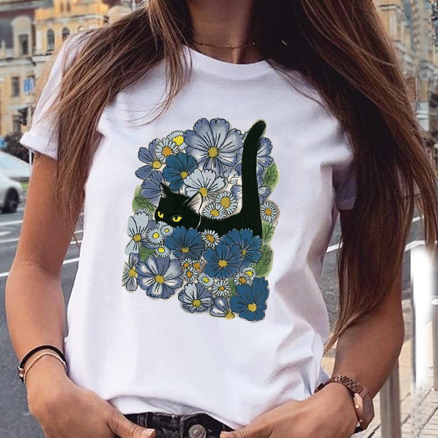 Women's Cotton T-Shirt With Kitten Print   4