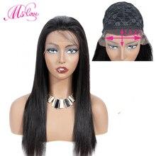 Парики из натуральных волос на кружевной основе 13*1 бразильские парики для черных женщин#2#4 коричневый MS Love Non Remy