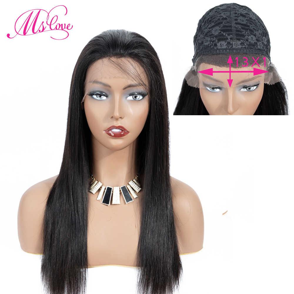 Pelucas de cabello humano 13x1 con encaje frontal estrecho, pelucas brasileñas rectas naturales para mujeres negras, Color Natural #4, Marrón Ms Love no Remy