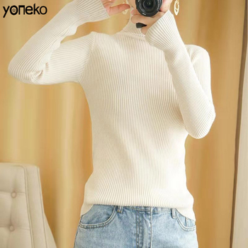 Yoneko Turtleneck Pullovers Inside sweater high collar sweater female autumn winter slim knit sweater warm long sleeves KM220