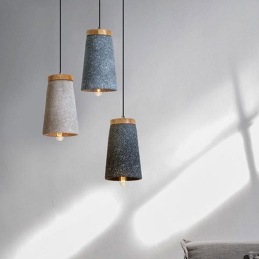 Vintage Loft pendentif LED lumières ciment bois pendentif lampes salle à manger café Bar industriel vent décoration suspension lampe Luminaire