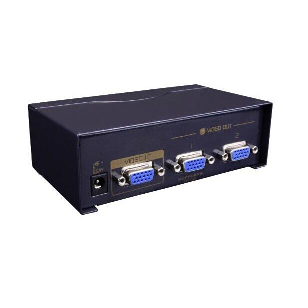 VGA Splitter 2 Ports Yatek YK-VS2502A, Amplifies The Signal Up 65 Meters And Supports DDC2