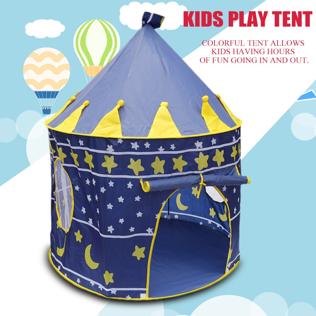 Castle Play Tent Portable Foldable Tipi Prince Folding Tent Children Castle Cubby Play House Gifts For Kids Outdoor Toy Tents
