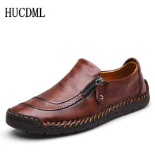 HUCDML 2020 Leather Men casual shoes Comfortable soft mens loafers Large Size 38-48 Support Dropshipping