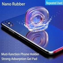 Almofada de borracha portátil nano, suporte multifuncional para celular iphone x xs max xr 8 adesivo fixado em gel