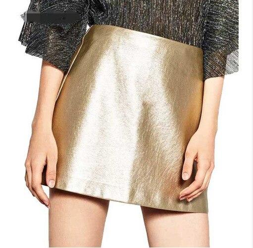 Europe And America Simple Micro A Leather Skirt Short Skirt Mini Skirt Skirt