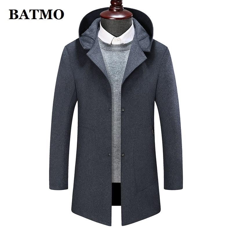 BATMO 2019 new arrival high quality wool hooded jackets men,men's wool trench coat,plus-size M-8XL 1988