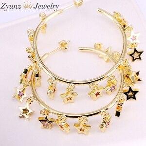 Image 1 - 3 paires, couleur or/argent mignon cz étoile boucle doreille avec arc en ciel brillant cz étoile pour les femmes de luxe charme fête bijoux