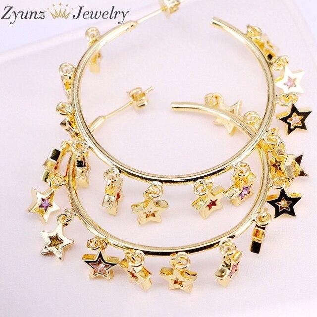 3 paires, couleur or/argent mignon cz étoile boucle doreille avec arc en ciel brillant cz étoile pour les femmes de luxe charme fête bijoux