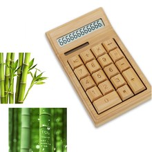 Bamboo Office Calculator 12 Digit LCD Display School Special Gift Christmas Calculate Commercial Tool Battery Solar Powered
