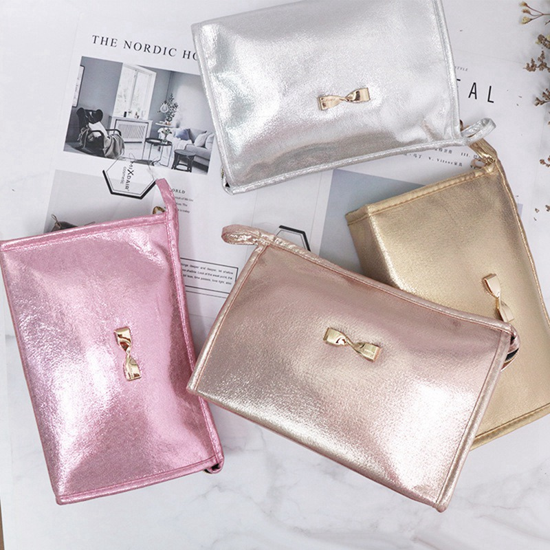 Shiny Bow-knot Cosmetic Bag High Capacity Waterproof Pu Material Makeup Bag Makeup Toolfafa