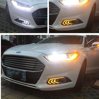 For Ford Mondeo Fusion 2013 2014 2015 2016 Yellow Turning Signal Relay Waterproof Car DRL Lamp LED Daytime Running Light цена 2017