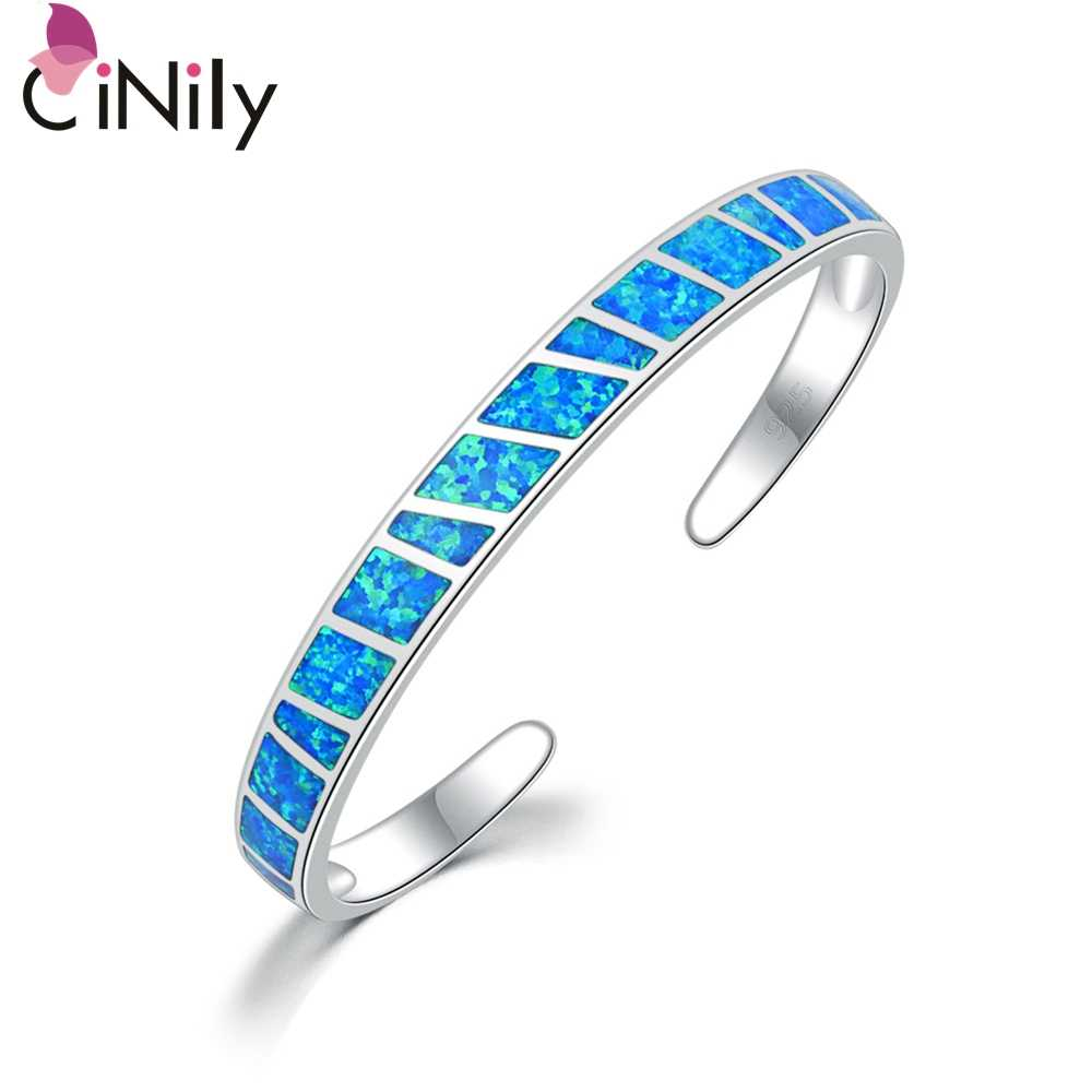 CiNily White & Blue Fire Opal Stone Open Bangles Silver Plated Adjustable Minimalist Bracelets Jewelry Best Gifts for Girl Woman