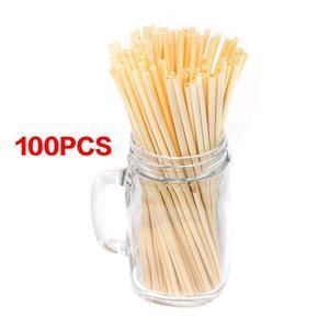 100 шт./упак. 20 см натуральный Пшеничная солома экологически одноразовая трубочка для питья для бара Кухня вечерние поставки
