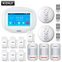 KERUI K52 Wifi GSM APP التحكم إنذار مجموعة للمنزل أمان النظام العالمي للاتصالات بالهواتف الجوالة 4.3 بوصة TFT اللون اللاسلكي لص نظام إنذار كاشف الدخان