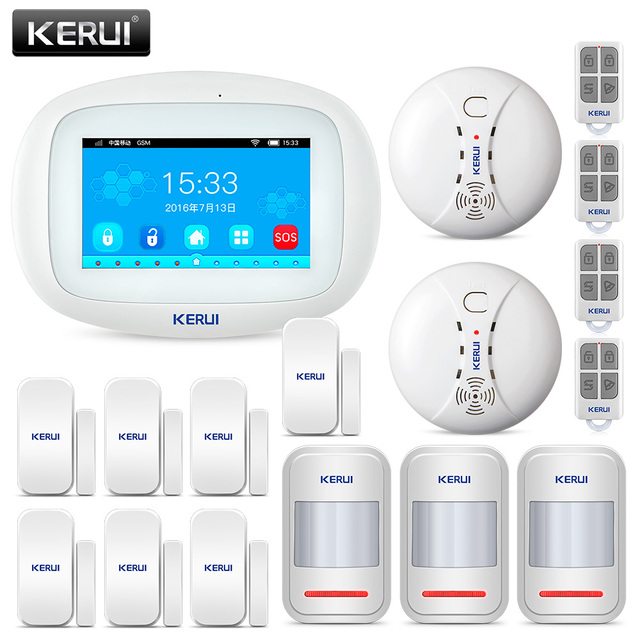 Kerui K52 wifi gsm app 制御警報ホームセキュリティ gsm 4.3 インチ tft カラーワイヤレス盗難警報システム煙検出器