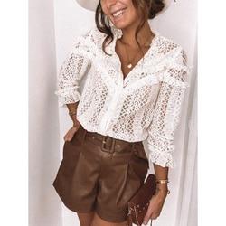 Autumn Elegant Lace Women Blouses Shirt Fashion New Ruffles Long Sleeve Shirts Tops Office Lady Vintage v Neck Hollow Out Blusas