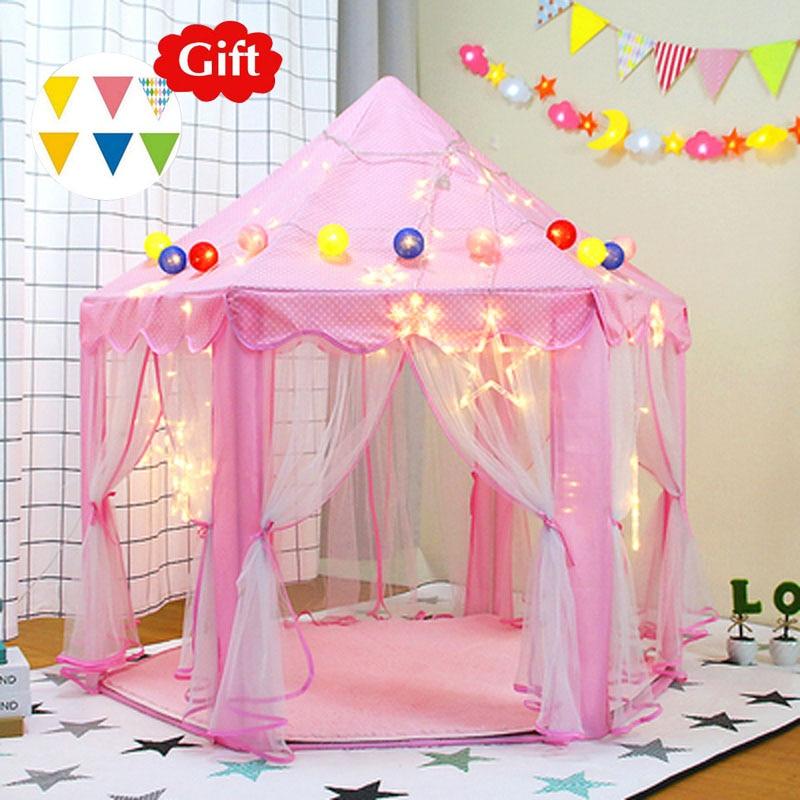 Pink Princess Children's Tent Tipi Portable Castle Wigwam Tents Folding Teepee Playhouse Kids Dry Pool Ball Pool Baby Room Decor