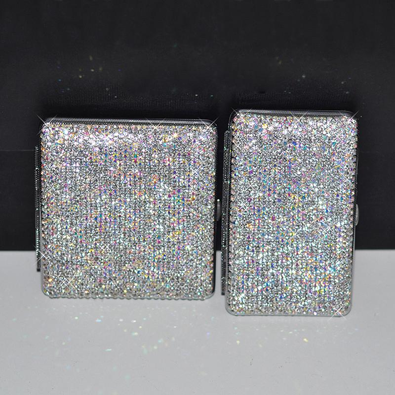 Crystal Led Light Car Ashtray Shiny Diamond Cigarette Case Box Charging Windproof Plasma Lighter Slim for Women