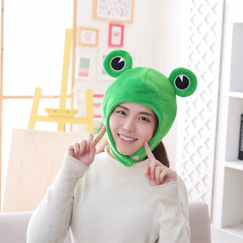 Novelty Funny Big Frog Eyes Cute Cartoon Plush Hat Toy Green Full Headgear Cap Cosplay Costume Party Dress Up Photo Prop