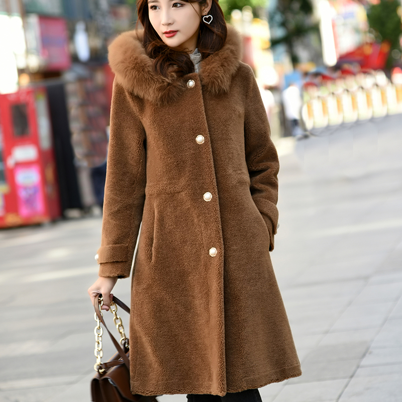 New 2019 Fox fur collar true composite shearling lambskin coats women 39 s real wool fur coats and faux deerskin lined coats in Faux Fur from Women 39 s Clothing